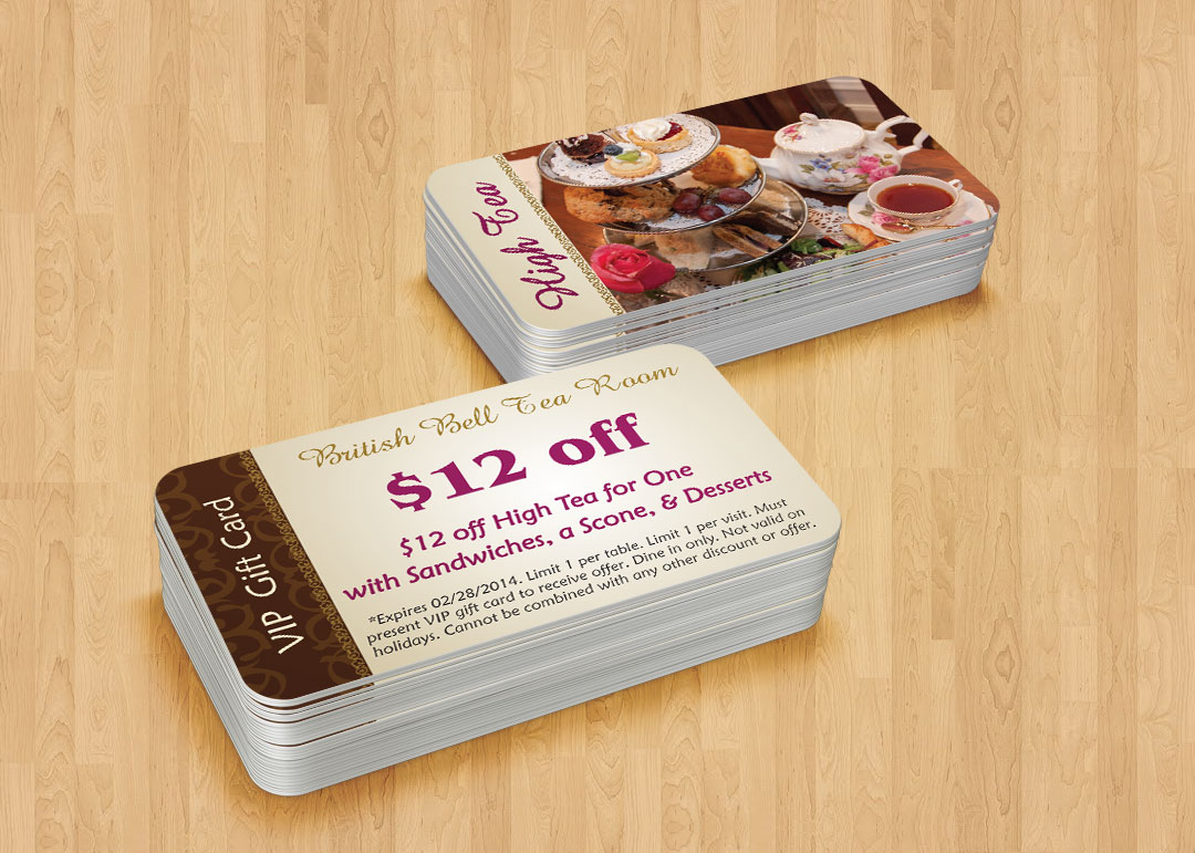 Gift card design for restaurants custom in