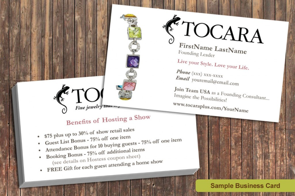 Marketing Materials for Tocara Business Owners business cards